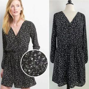 NWT GAP Black Floral Print Button-Front Dress Lrg